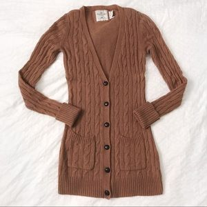 H&M camel wool cable knit cardigan